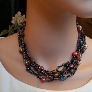 Brown Rainbow Boho Micro Beaded Necklace